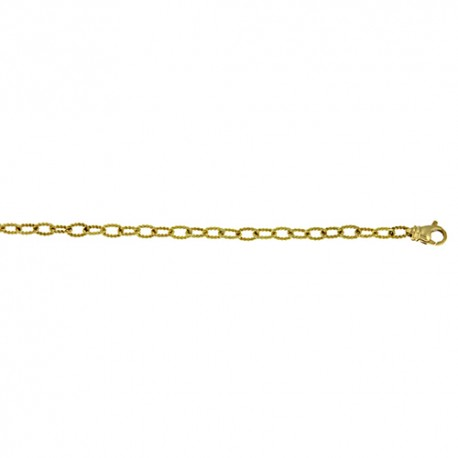 18K Yellow Gold Textured Link Chain 3.6mm