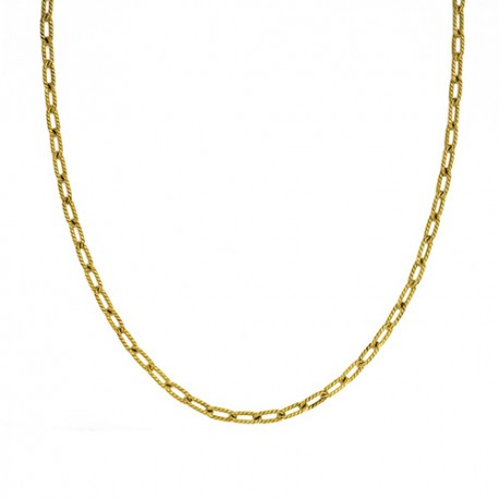 18K Green Gold, Textured Open Link Chain 4.2mm