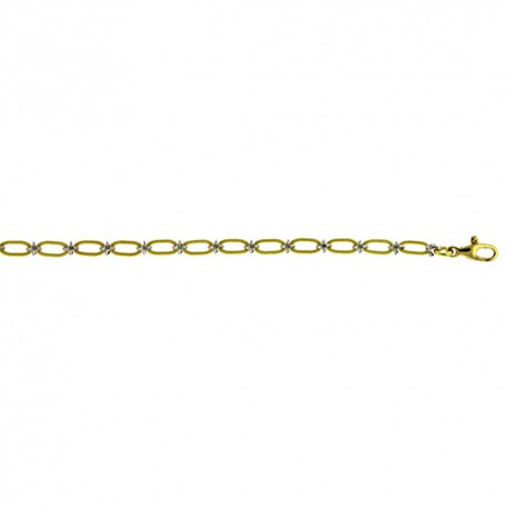 18K Yellow Gold Oval Link Chain, with White Knot