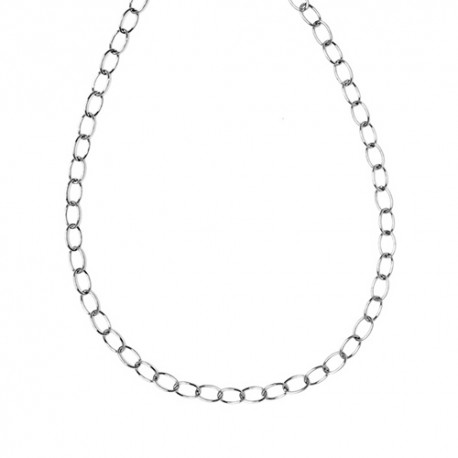 18K White Gold Solid Oval Link Chain 6.5mm