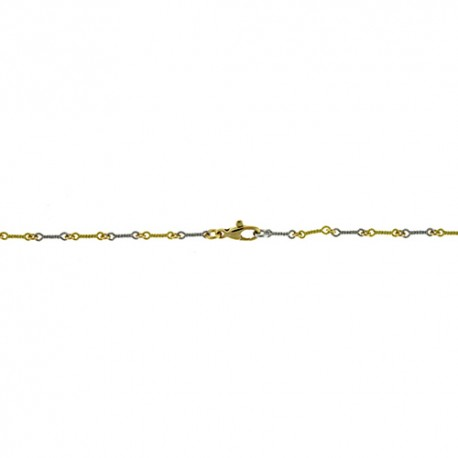 18K White Gold & Green Gold Twisted Link Chain