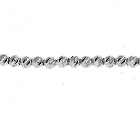 14K White Gold, Diamond Cut, Bead Chain 2.0mm