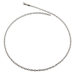 14K White Gold Textured Link Cable Chain 3.3mm