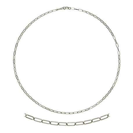 14K White Gold Oval Flat Cable Chain 2.4mm