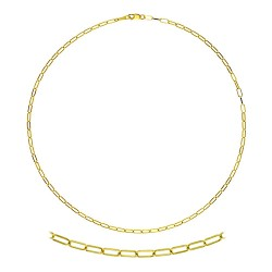 14K Yellow Gold Oval Flat Cable Chain 2.4mm