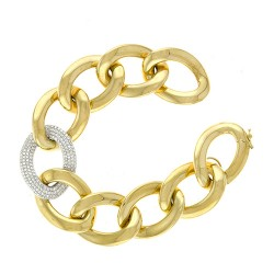 14K Yellow Gold Bracelet With Diamond Link