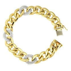 14K Yellow Gold Bracelet With Diamond Links
