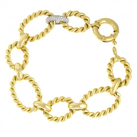14K Yellow Gold Bracelet W/ One White Diamond Link
