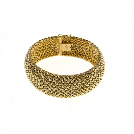 14K Yellow Gold Mesh Bracelet 22mm