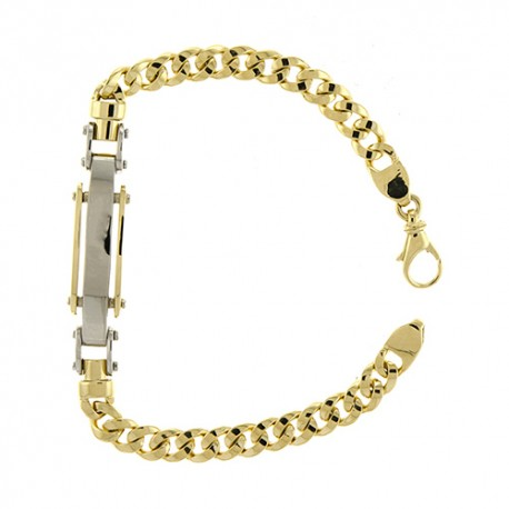 14K Yellow/White Curb Link ID Bracelet