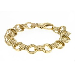 14K Yellow Gold Triple Charm Bracelet 13.5mm