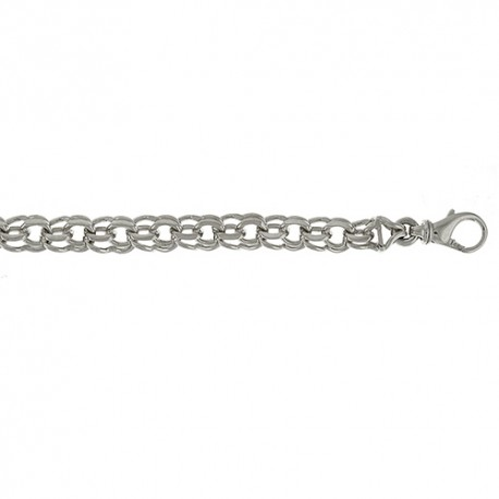 14K White Gold Double Charm Bracelet 7.4mm
