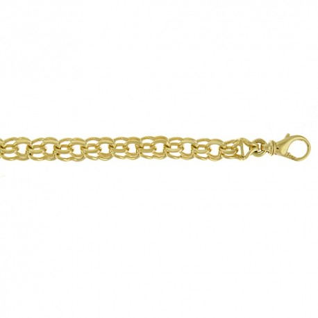 14K Yellow Gold Double Charm Bracelet 7.4mm