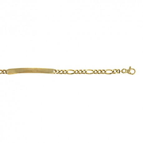 14K Yellow Gold Figaro ID Bracelet 4.8mm