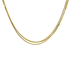 18K Yellow Gold, 3 Strand Wheat Chain
