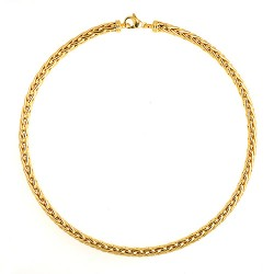 18K Yellow Gold Wheat Chain, 5.7mm width
