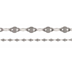 14K White Gold Figaro Fancy Style Chain