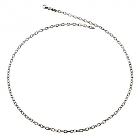 14K White Gold Textured Link Chain 3.3mm
